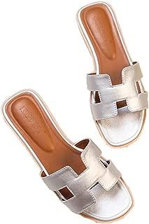 Women's Open Toe Slip H Shape Slippers Flat Casual Fashion Summer Sandals Slippers for Outsdoor (9, Silver)