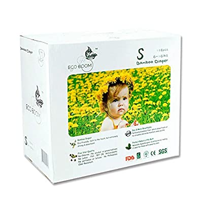 ECO BOOM Baby Bamboo Biodegradable Diapers Infant Nature Disposable Diapers Eco Friendly Nappies for Babies Size S 108 Count-Pack