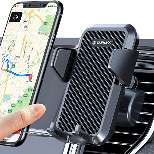VANMASS Kfz Handyhalterung Auto Lüftung [Upgrade 3.0 Sicherer Stabiler] Handyhalter fürs Auto mit 2 Lüftungsclips Silikonschutz Universale Smartphone Halterung Auto für iPhone Samsung Huawei Google LG