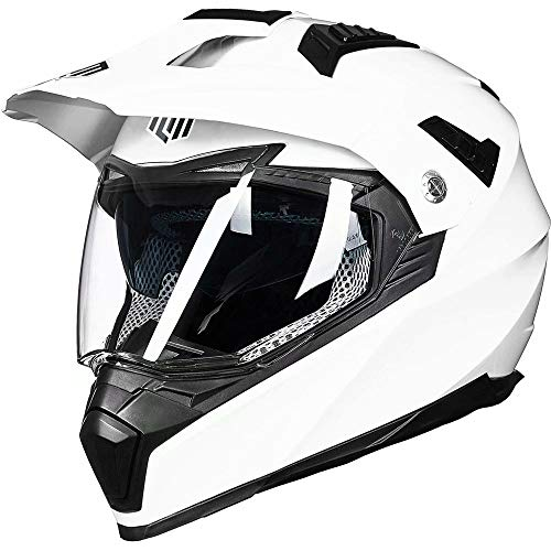 ILM Off Road Motorcycle Dual Sport Helmet Full Face Sun Visor Dirt Bike ATV Motocross Casco DOT Certified (L, White)