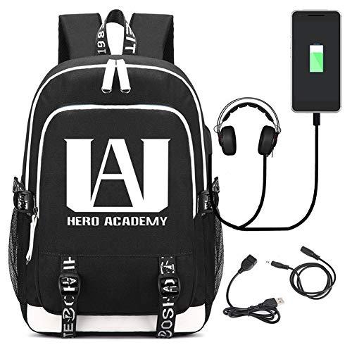 My Hero Academia Rucksack, Bedruckt, für Studenten, Schultasche, Laptoprucksack mit USB-Ladeanschluss