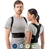 Raddrizza spalle uomo di aHeal | Fascia lombare supporto schiena medica per donne e uomini | Supporto schiena e colonna vertebrale toracica e lombare per schiena dritta | Pelle 3 Nero
