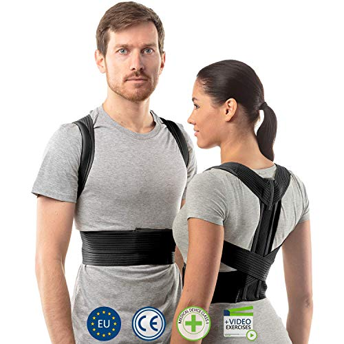 Raddrizza spalle uomo di aHeal | Fascia lombare supporto schiena medica per donne e uomini | Supporto schiena e colonna vertebrale toracica e lombare per schiena dritta | Pelle 2 Nero