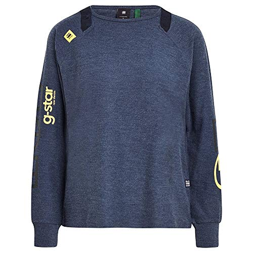 G-STAR RAW Sleeve Print Tweater Sudadera, Sartho Blue Htr C755-6370-Mochila, XXS para Mujer