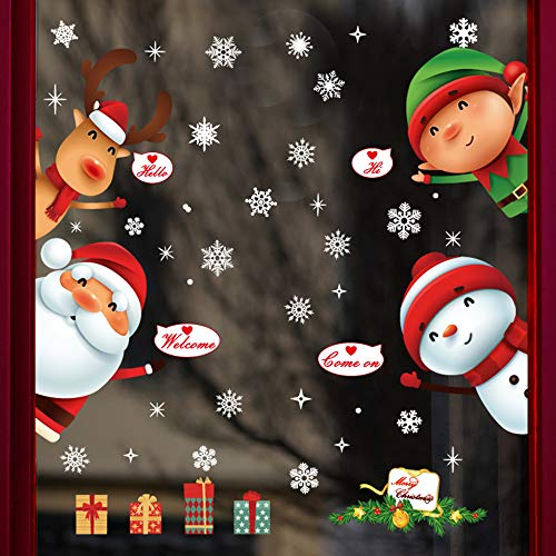 DegGod 1 Sheet Christmas Window Cling Decorations Stickers, DIY Santa Claus Snowman Elf Elk Snowflakes PVC Removable Decals for Home Glass Door Xmas Holiday Party Supplies (Elf)