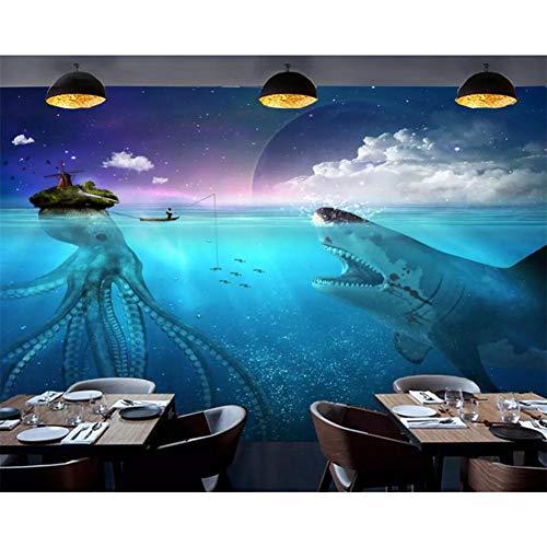HGFJG Tapete Unterwasserwelt Hai Oktopus Restaurant Café Werkzeug Hintergrund Wand Wohnkultur 3D Tapete