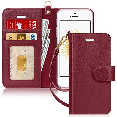 FYY Case for iPhone SE (1st gen-2016)/iPhone 5S/iPhone 5 Case, [Genuine Leather][Kickstand Feature] Flip Folio Case Cover with [Card Slots][Note Pockets] for Apple iPhone SE(1st gen-2016)/5S/5-WineRed