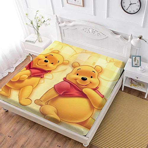 Fitted Sheet,Winnie The Pooh Bear (1),Soft Wrinkle Resistant Microfiber Bedding Set,with All-Round Elastic Deep Pocket, Bed Cover for Kids & Adults,twin (47x80 inch)