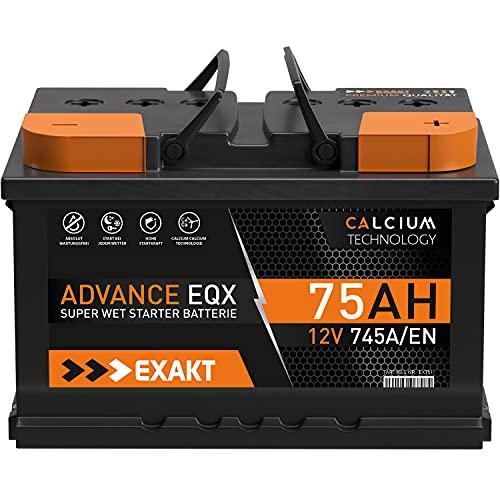 EXAKT Autobatterie 75Ah 12V Starterbatterie PKW KFZ Auto Batterie ersetzt 72Ah 74Ah 77Ah 80Ah