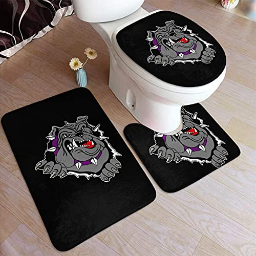 NA American Bully Dog Sketch USA Juego de alfombras de baño Juego de 3 Almohadillas Antideslizantes Alfombrilla de baño + Contorno + Tapa de Inodoro