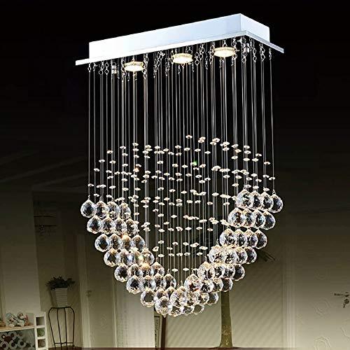 Sygjal 3 Colores Regulable luz araña de Cristal de la lámpara LED de Techo decoración del hogar Salón Comedor Entrada de la Sala 60 * 20 * 100cm