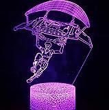 Skins Skins New 3D Illusion Light Battle Bus, Pequeña Noche LED LED Creative Colorful Touch Touch Control Remoto Control Lámpara, Lighting Game Regalo para La Lámpara De Mesa