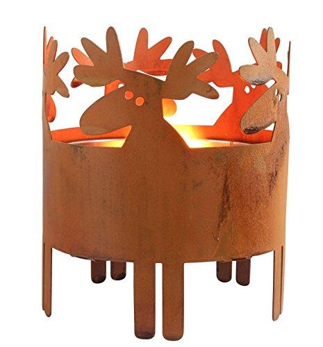 Kerzenhalter in Rostoptik für Drinnen & Draußen - Modell Elch oder Altstadt - Schwedisches Design - Hanna's Laden (Elch)