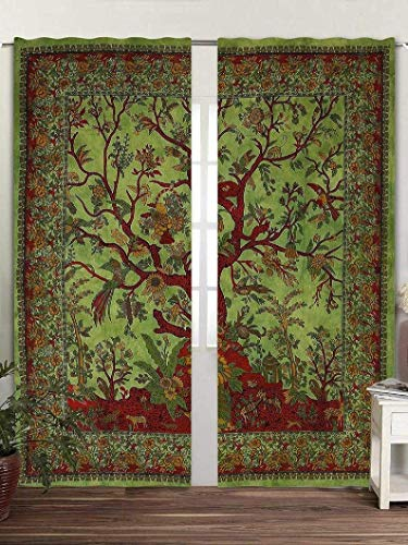 """Real Online Seller Tree Print Curtain Wall Hanging 2 Panels Set 48""""x78"""" Inches Mandala Window Curtain Pair 82 Length Set of 2 Bird Tapestry Indian Hippie Curtains Bohemian Psychedelic - Parrot Green"""