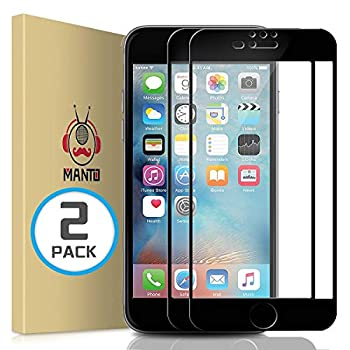MANTO Screen Protector for iPhone 8 Plus 7 Plus 6S Plus 6 Plus 5.5-Inch Full Coverage Tempered Glass Film Edge to Edge Protection 2-Pack Black