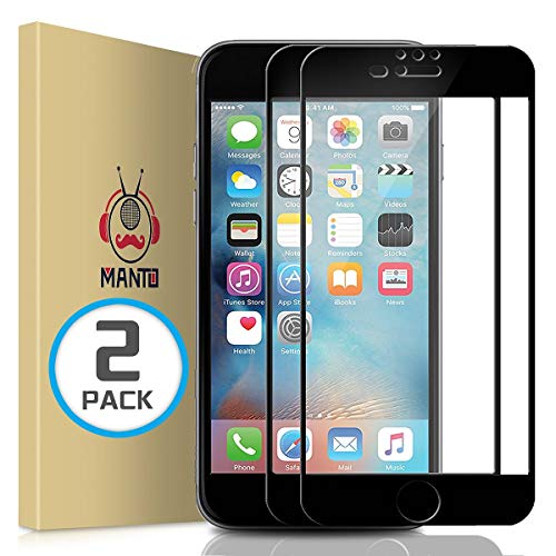 MANTO Screen Protector for iPhone 8 Plus 7 Plus 6s Plus 6 Plus 5.5-Inch Full Coverage Tempered Glass Film Edge to Edge Protection 2-Pack, Black