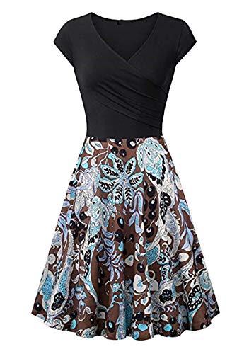 EFOFEI Vestido Largo a Media Pierna con Cuello en V para Mujer Vestido con Estampado Floral Negro 2XL