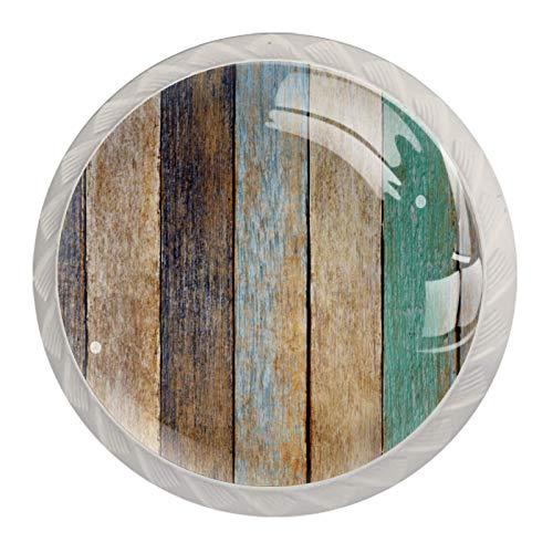 Juego de 4 pomos redondos de cristal de 30 mm para cajones y cajones, de madera colorida