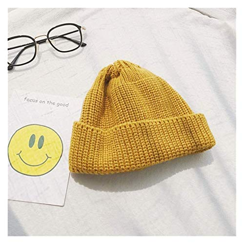 XXY Heat Holders Hat Distaff Autumn and Winter Korean Wild Men Knitting Wool Cap Hip-hop Skullcap Student Couple Of Inhuman Winter Hat Tide Modeling (Color : Turmeric, Size : Adjustable)