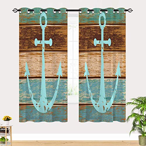 JOOCAR Anchor Retro Blue Brown Wooden Grommet Blackout Curtains Insulated Room Darkening Curtains for Living Room Window Curtain Panels 24Wx39L inch