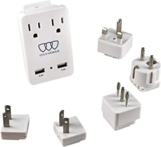 2000W International Travel Adapter Kit - AC Outlets and Two 2.4A USB Port with Worldwide Universal Wall Plugs for UK USA Au Europe Italy Asia - Works for Hair Dryer and Hair Straightener
