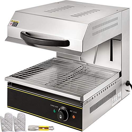 VBENLEM Salamander Broiler 2800W Liftable Burner Salamander Oven Countertop Salamander Broiler Electric Cheese Melter Stainless Steel Raclette Grill 50-300℃ For Home Commercial Use