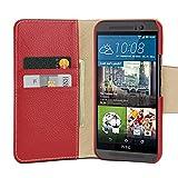 DEDTET Tasche passend für HTC One M9, Außenseite aus Echt-Leder, Innenseite aus Textil & Leder, Hülle mit Magnet-Verschluss, Schutz-Hülle seitlich aufklappbar, Ultra-Slim Cover, Rot