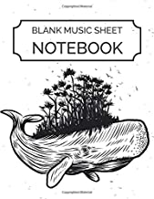 Blank Music Sheet Notebook: Whale with tree forest - Music Manuscript Paper, Staff Paper, Music Notebook 12 Staves, 8.5 x 11, A4, 100 pages