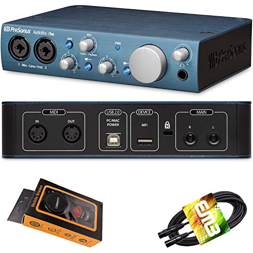 PreSonus AudioBox iTwo USB Audio Interface 2-in/2-out with 2 x XLR/TRS Combo Inputs, Studio One Artist DAW Software, Studio Magic Suite with Gravity Phone Holder and EMB XLR Cable PK1 Bundle
