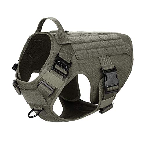 """ICEFANG Tactical Dog Harness with 2X Metal Buckle,Working Dog MOLLE Vest with Handle,No Pulling Front Leash Clip,Hook and Loop for Dog Patch (L (28""""-35"""" Girth), Ranger Green)"""