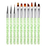 Nail Art Brush Pen Set, 10 Pieces 3D Nail Art Brushes Set, Nail Brushes for Acrylic Powder, Suitable for Beginners, Professionals and Artists (Green)