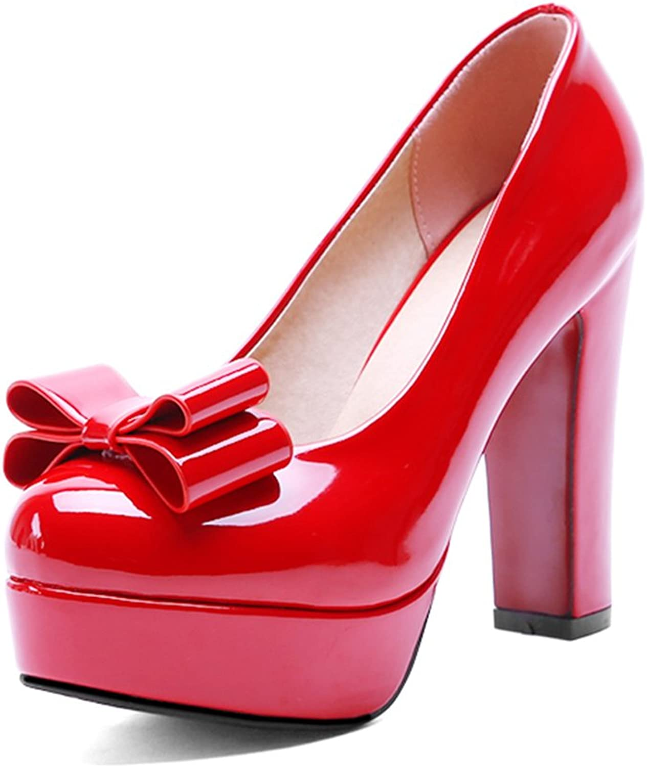 Lucksender Womens Round Toe High Chunky Heels Platform Pumps with Bowknot