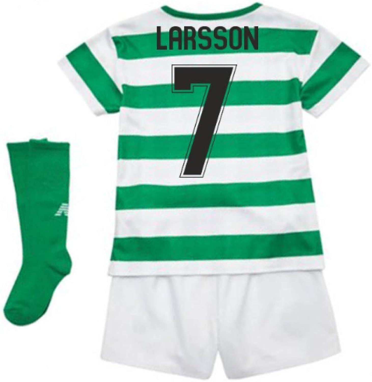 UKSoccershop 2018-2019 Celtic Home Little Boys Mini Kit (Henrik Larsson 7)