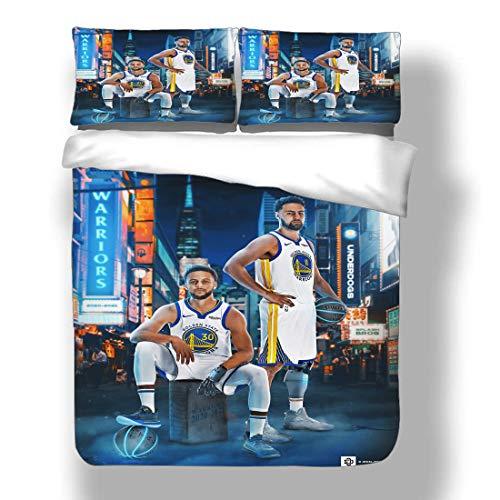 Juego de funda nórdica Stephen Golden State Basketball Player 30 ropa de cama Chef Curry Warriors Super Star Slam Dunk National Basketball Association Edredón con 2 fundas de almohada Human Torch Thre