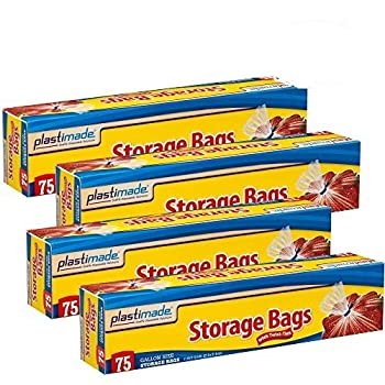 Plastimade Disposable Plastic Storage Bags With Original Twist Tie 1 Gallon Size 300 Bags Great For Home Office Vacation Traveling Sandwich Fruits Nuts Cake Cookies Or Any Snacks  4 Packs