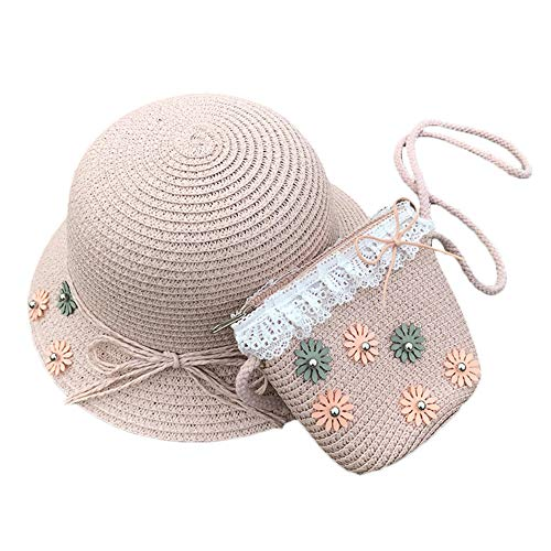 AZXAZ Mädchen Stroh Sonnenhut Mit Tasche Süß Kleinkind Baby Blumen Mütze sollte Sich Taschen Set Outdoor Sommer Strohhut Geldbörse Fit für 2-7 Jahre Kinder (Rosa)