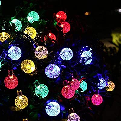 Bripower Garden Solar Lights, 50 LED 24ft 8 Modes Waterproof Outdoor String Lights Globe Crystal Balls Fairy Lighting for Patio Party Home Garden Yard Wedding Christmas Decoration (Multicolor)