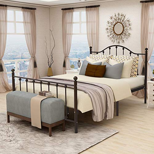 Metal Bed Frame with Strong Headboard Platform and...
