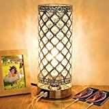 Crystal Touch Control Table Lamp with Dual Fast USB Charging Ports, 3-Way Dimmable Decorat...