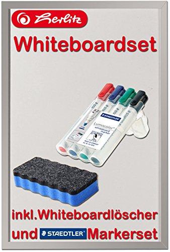 Herlitz Whiteboard 40x60cm beschriftbar Holzrahmen silber (Whiteboard 40x60cm | mit 4er Markerset, Löscher blau | ohne Magnete)