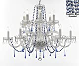 Authentic All Crystal Chandelier Chandeliers Lighting with Sapphire Blue Crystals! Perfect for Living Room, Dining Room, Kitchen! H32' W27'