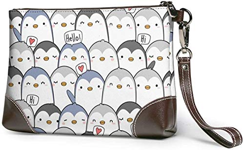 GLGFashion Portafoglio frizione Cute Penguin Greeting Leather Wristlet Clutch Purses Bag Crossbody Clutch Wallet Handbags For Women