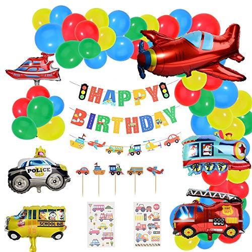 Herefun Decoraciones de Fiesta de Cumpleaños, Globos de Latex Feliz Cumpleaños Banner Transporte Tema Avión Tren Coche de Policía Autobús Escolar Yate Camión de Bomberos Niño Cumpleaños Baby Shower