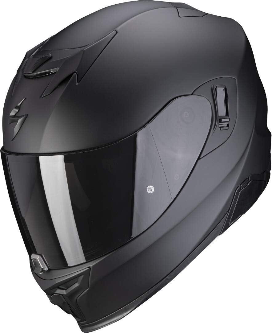 Scorpion EXO-520 - Casco de moto con visera parasol, Pinlock, preparado para comunicación Bluetooth M, negro mate y plateado