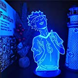 3D Night Light 3D Lamp Optical Illusion Touch Switch Bedside Lamp Haikyuu Tendou Satori Led Anime LAMP Color Changing Nightlights lampara for Bedroom Christmas Gift HCSM