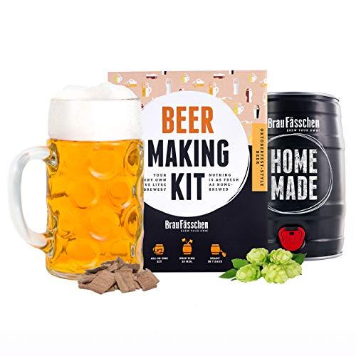 BrauFässchen | Kit Fermentazione Birra della Germania estilo Oktoberfest | Crea la tua birra artigianale fatta in casa | Idee Regalo Uomo | Tutto compreso | Brewbarrel Braufässchen