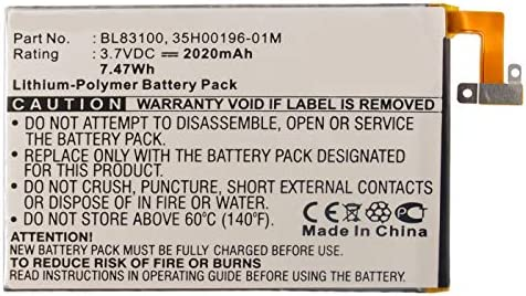Synergy Digital Cell Phone Battery Works with HTC Droid DNA Cell Phone Li Pol 3 8 2020mAh Ultra product image