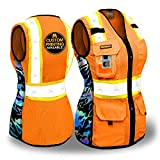 KwikSafety (Charlotte, NC) TIGER QUEEN Safety Vest for Women (IRIDESCENT Design) Premium Class 2 Custom High Visibility ANSI OSHA 9 Pockets Reflective Construction with Zipper | Orange Extra Large