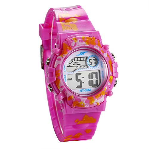 JewelryWe キッズ デジタル 腕時計 女の子 かわいい スポーツ キッズウォッチ カレンダー アラーム 曜日 ストップウォッチ 子供の日 誕生日 プレゼント ピンク