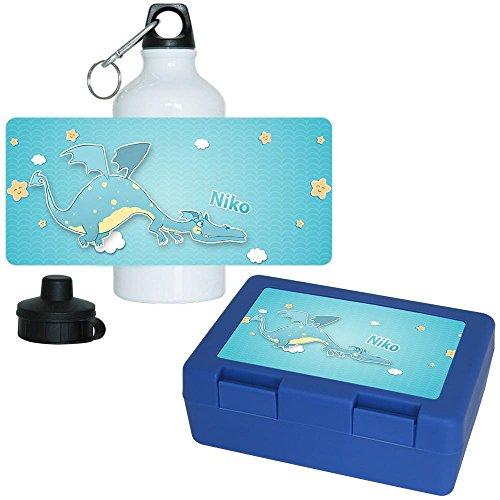 Brotdose + Trinkflasche Set mit Namen Niko und schönem Motiv mit Drachen für Jungen | Aluminium-Trinkflasche | Lunchbox | Vesper-Box
